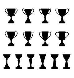 set of silhouettes of award cups and trophies vector image