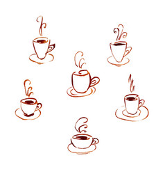 set of watercolor cups of coffee vector image
