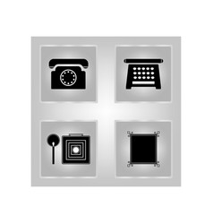 Set telephone icons for antiquity vector