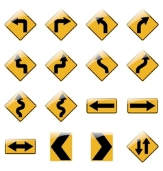 Set yellow road traffic signs vector