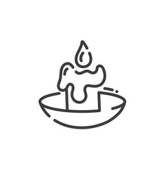 simple line art icon burning wax candle vector image