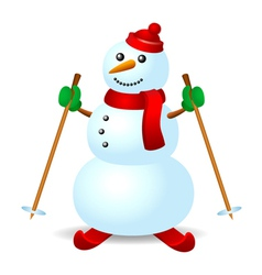 Ski snowman vector image