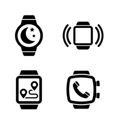 Smartwatch smart clock simple related icons vector