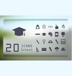 Stickers with school supplies on a blue vector