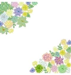 Succulent garden border card design vector