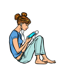 Teen girl listening to music or audiobook vector