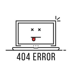 thin line 404 error with dead emoji vector image