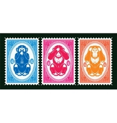 three colored template with three monkeys vector image