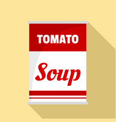 Tomato soup can icon flat style vector