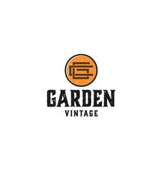Vintage garden outdoor logo with autumn leaf vector
