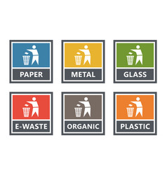 waste management labels set waste sorting for vector image