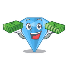 With money bag sapphire gem in a mascot box vector