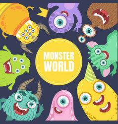Yellow circle with inscription monster world vector