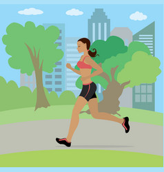 young and slim woman running in park vector image