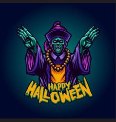 zombie vampire witchcraft happy halloween vector image