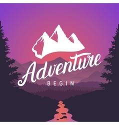 Adventure logo lettering calligraphy Outdoor vector image