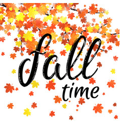 autumn time lettering banner seasonal fall poster vector image