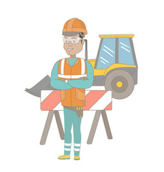 confident hispanic builder with arms crossed vector image vector image