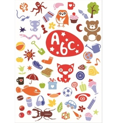different cute colorful elements vector image vector image