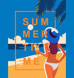 girl enjoying cocktail on the beach vector image