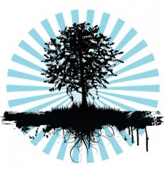 grunge tree logo vector image vector image