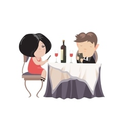 Romantic couple dinner looking at their smart vector image vector image