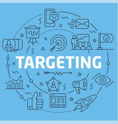 blue line flat circle targeting vector image vector image
