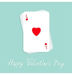 Happy Valentines Day Poker playing card stack with vector image