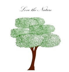 Heart green tree with finger prints EPS vector image
