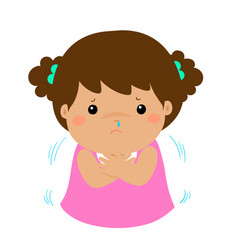 little girl with a cold shivering cartoon xa vector image vector image