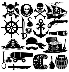 set of pirate icons vector image vector image