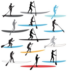Stand up paddle boarding sup vector