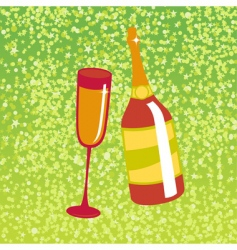 wine bottle and glas vector image vector image