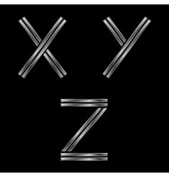 XYZ silver letters vector image