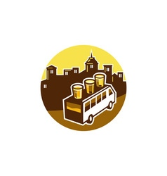 Beer Flight Glass On Van Buildings Circle Retro vector image vector image