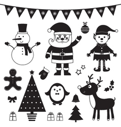 Christmas set isolated black elements vector image