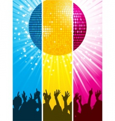 divided disco ball and crowd vector image vector image