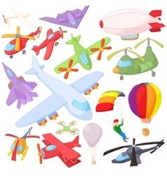 Aviation Icon Set cartoon style vector image vector image
