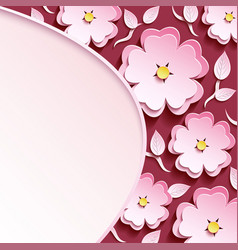 background with 3d sakura and leaf vector image