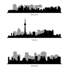collection ef canadian cities skylines vector image