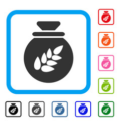 grain harvest sack framed icon vector image