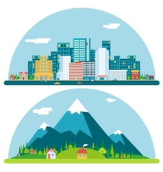 Spring Urban and Countryside Landscape City vector image vector image