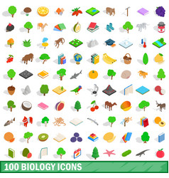 100 biology icons set isometric 3d style vector