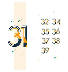 31 year retro anniversary set celebration vector
