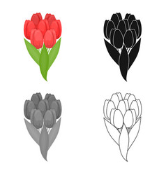 a bouquet of fresh flowers single icon in cartoon vector image vector image