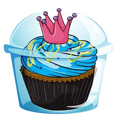 A cupcake with a crown inside sealed container vector