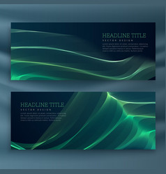 Abstract green wavy banners set vector