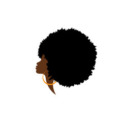 African american woman silhouette hair curly logo vector