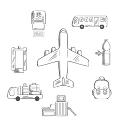 Airport service and aviation sketch icons vector image