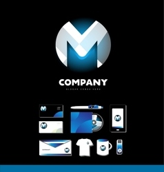 Alphabet letter M sphere logo icon set vector image